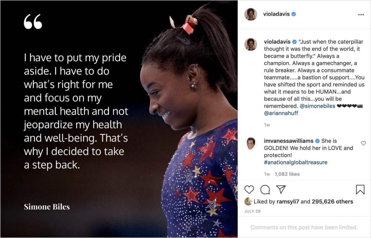 Social media communities are promoting mental health and providing support for people like Olympic gymnast Simone Biles.