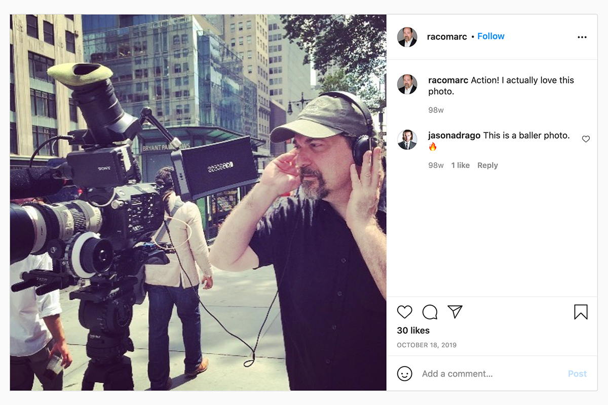 Instagram of Marc Raco working on set for a commercial.