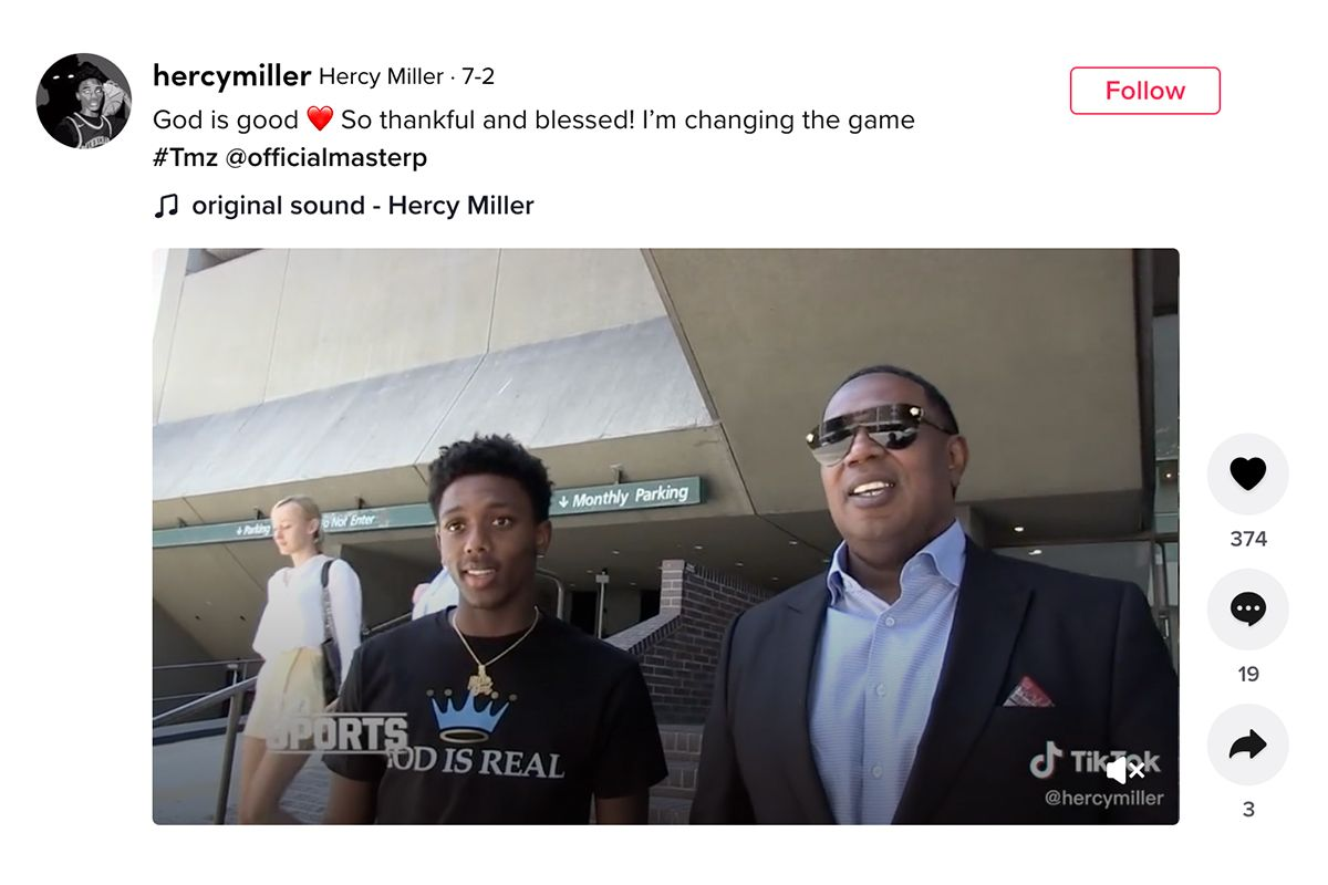 College athlete Hercy Miller is getting paid for his talents.