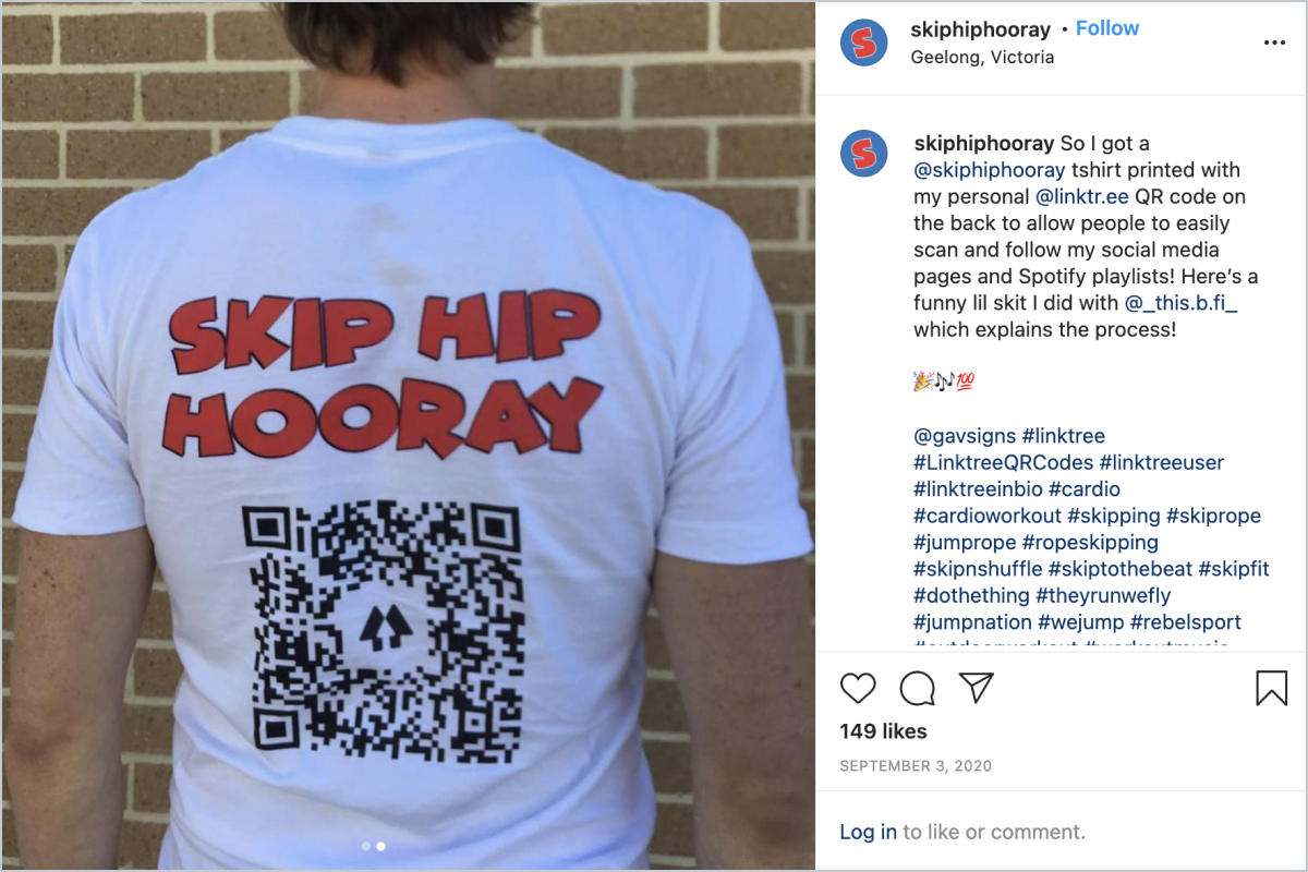 Linktree user Skip Hip Hooray places QR codes on his T-shirts